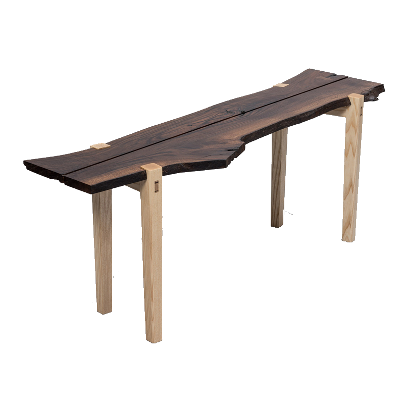 Table / Banc en noyer design C.Claeys ref.170112